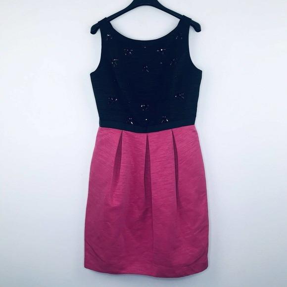 Eliza J 10 Dress Jeweled Pleated Pockets Flaw